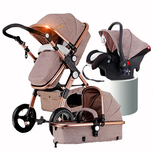 Gold Baby Strollers 2in1 3in1 Baby Car Seats Russia free shipping-in