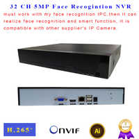 Face Recognition NVR 32 CH P2P Supports onvif 1HDMI H.265 H.264 5MP Smart IP Video Recorder CCTV NVR for IP Camera Surveillance