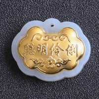 24K Gold Hetian Jade Gold Lock Pendant 3D Hard Gold Inlaid Jade Three dimensional Blessing Lock Pendant Baby Lock