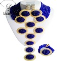 Nigerian African Beads Royal Blue Wedding Jewelry Set laanc AL063
