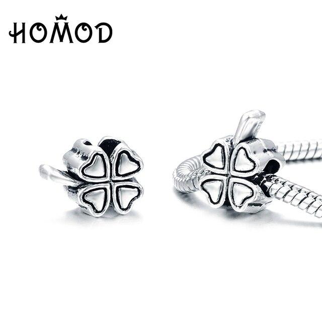 Spinner Sliver Plated Shape Four Leaf Clover Charm Beads Fit Pandora Bracelets For Women Diy Gift