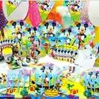 6 personnes mickey d'anniversaire party set ensemble birthdaty party set mickey partie décoration fournitures ensemble pour les fêtes d'anniversaire props