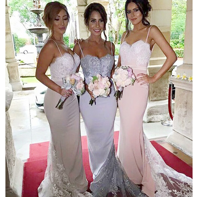 New Elegant Stain Lace Appliques Beading Mermaid Fashion font b Bridesmaid b font font b Dresses