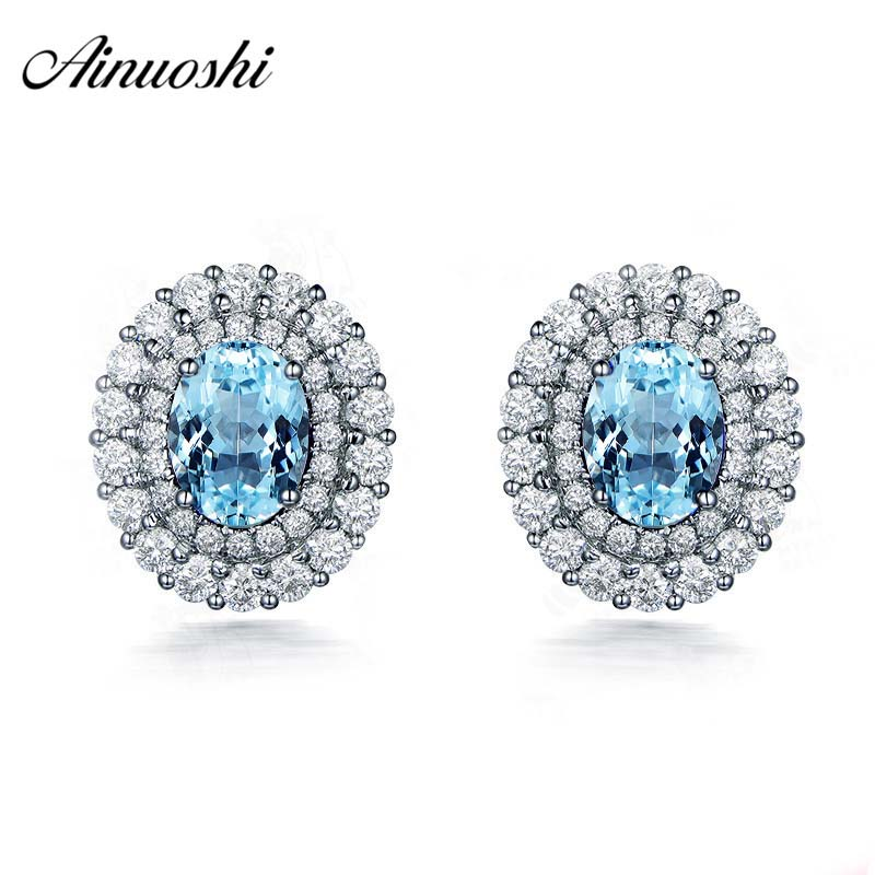 AINUOSHI 3 Carat Halo Stud Earring Genuine 925 silver Natural Blue Topaz Brilliant Earrings Female Exquisite Jewelry PresentAINUOSHI 3 Carat Halo Stud Earring Genuine 925 silver Natural Blue Topaz Brilliant Earrings Female Exquisite Jewelry Present