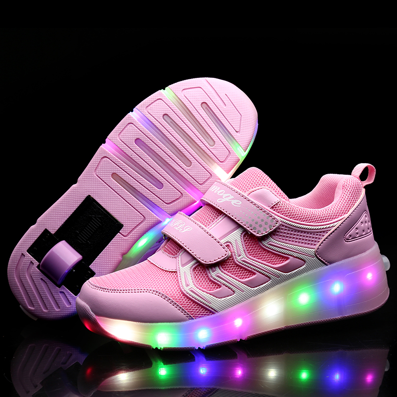 Pink Gold Children Glowing Sneakers Kids Roller Skate Shoes Children Led Light Up Shoes Girls Boys Sneakers With Wheels Heelies(China)