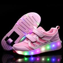 6723aad45 Oro rosa niños brillantes zapatillas de Skate zapatos de los niños Led luz zapatos  niñas zapatillas de deporte con ruedas tacone.