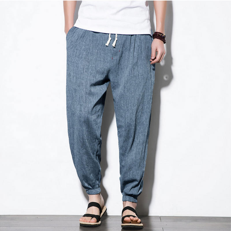 2018 Cotton Linen Casual Harem Pants Men Jogger Pants Men Fitness Trousers Male Chinese Traditional Style Harajuku