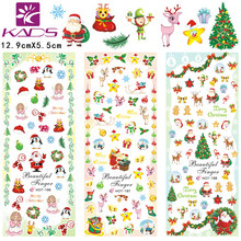 KADS 3 vel/set vrolijk kerstfeest design Water decal Nail Sticker Nail Art Decals Water Transfer stickers manicure wraps nagels(China)