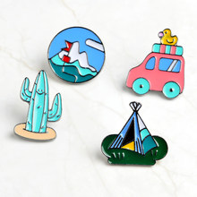 Cartoon Little yellow duck Bus cactus tent Badges Brooches button pins Travel enthusiast Brooches Jewelry gifts for sunny friend(China)