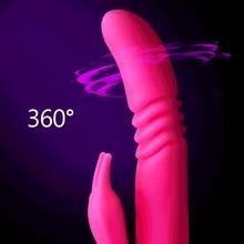 Heating Telescopic Rabbit Vibrator Rotating 12 mode Dildo Vibrator G Spot Clitoris Stimulator Adult Sex Toys