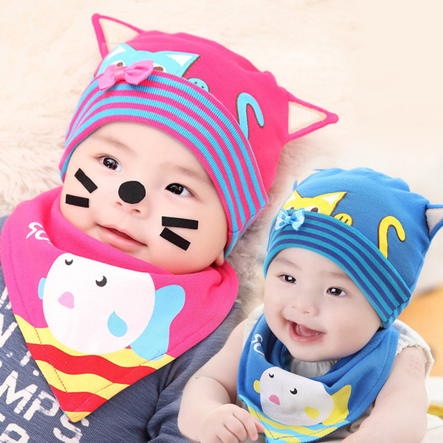 9c3cae1161b 2015Lovely Cat Stripe Pattern Baby Hat Winter Cap For Newborn child kids  baby beanies Cotton Infants Hat chapeu hot sale
