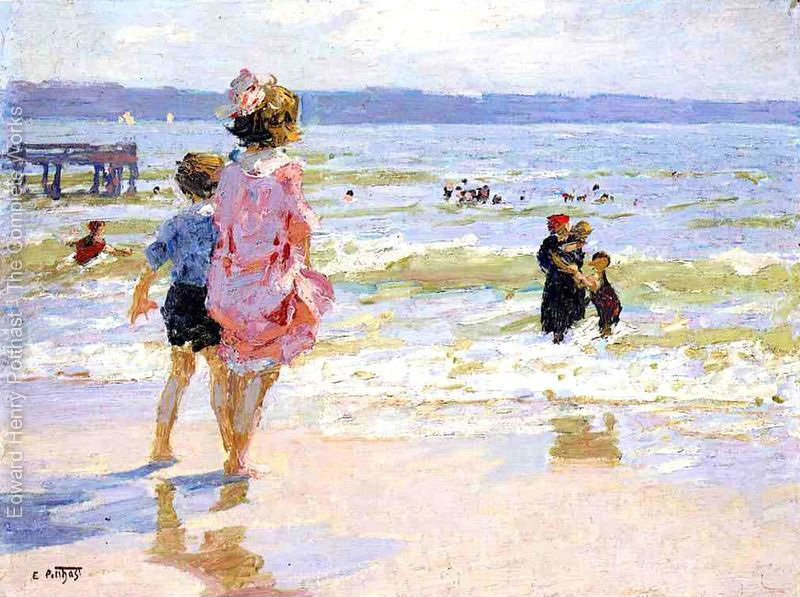 oil painting Beach and Children At the Seashore by Edward Henry Potthast High quality Hand painted Landscape Art Home Decor