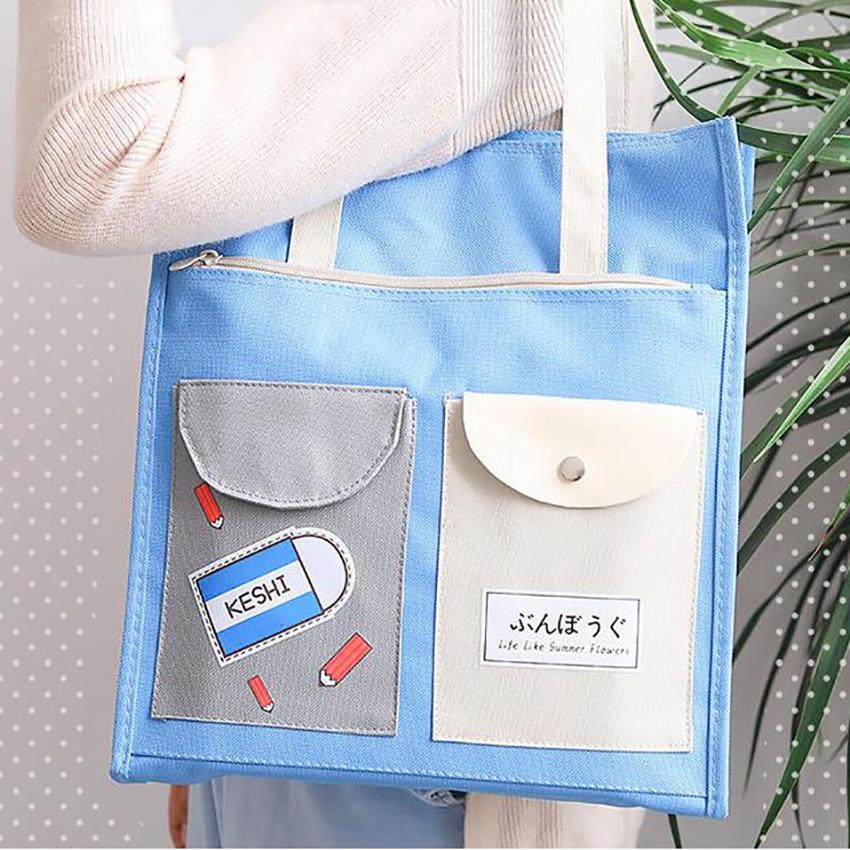 Cartoon Zipper File Folder Bag Portable Canvas Storage Bags Students Stationery Paper Document Holder Cute Handheld Art Bag