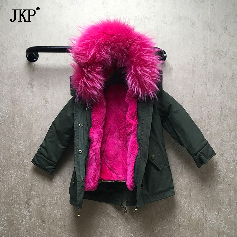 Promote⌠Jacket Parka Hooded-Coat Raccoon-Fur-Collar Girls Boys Kids Winter Outwear Children Warm▒