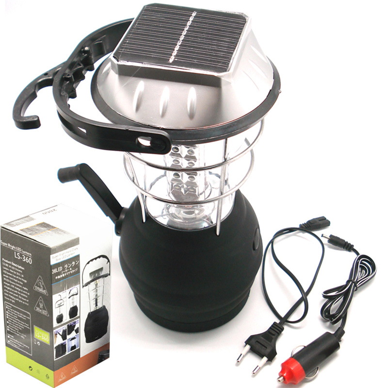 Waterproof solar LED camping lights rechargeable tents portable emergency lights outdoor lighting with car charger filled with water on the glowing green camping emergency lights