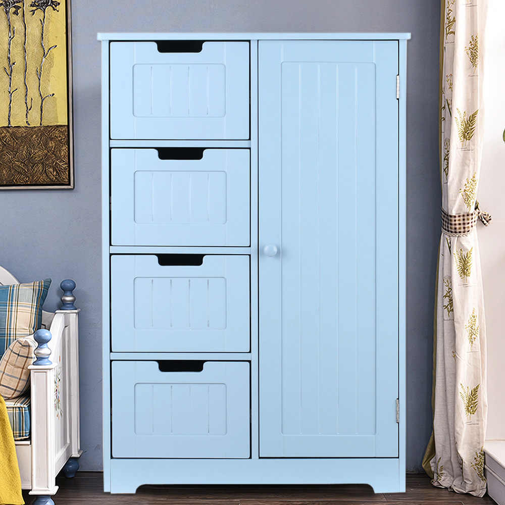 IKayaa Modern Shelved Floor Cabinet With Door & Drawers Bedroom Storage Organizer Furniture White/Blue|storage Floor Cabinets|drawer Storage Cabinetstorage Drawer Cabinet - AliExpress
