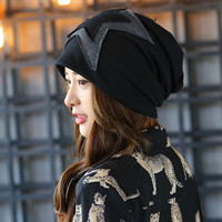 New Five Pointed Star Cap Knitted Scarf Winter Hats For Women Letter Beanies Women Hip Hot