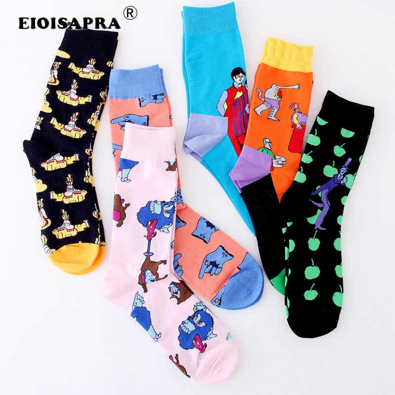 [EIOISAPRA]Fashion Personality Trend Jacquard Socks Men Japanese Harajuku Creative Cartoon High Quality Hip Hop Funny Socks
