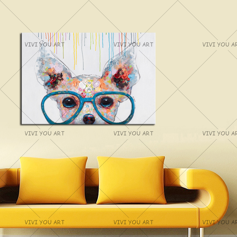 Us 14 0 50 Off Best Gifts Handmade Wall Art Artwork For Kids Room Decor Modern Abstract Cartoon Animal Dog With Glass Oil Painting On Canvas In