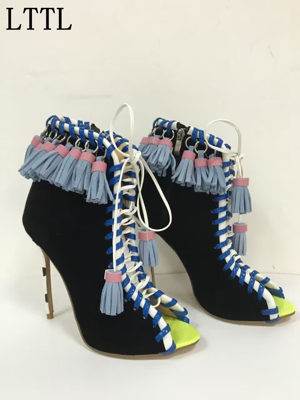 LTTL Spring Autumn Foreign Trade Genuine Leather Lace-up Tassel Fish Mouth Hollow out Shoes High-heeled Women Ankle Boots
