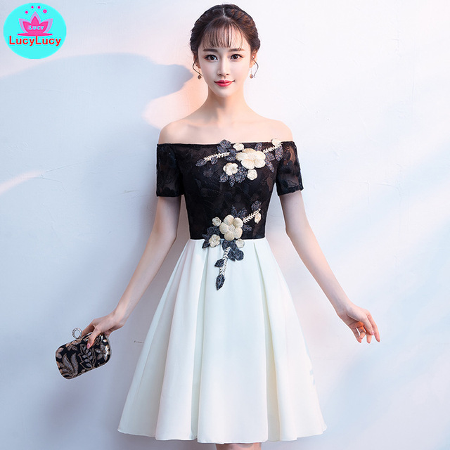 2019 new banquet word shoulder host dignified atmosphere party slim female   dress female