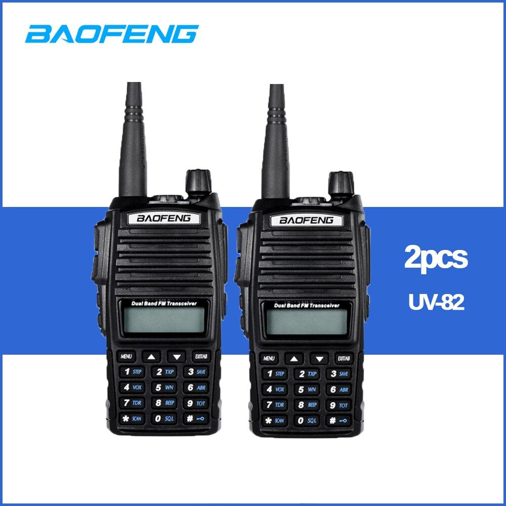 2pcs/lot Walkie Talkie BaoFeng UV-82 Dual-Band 136-174/400-520 MHz FM Ham Two Way Radio Transceiver Walkie Talkie
