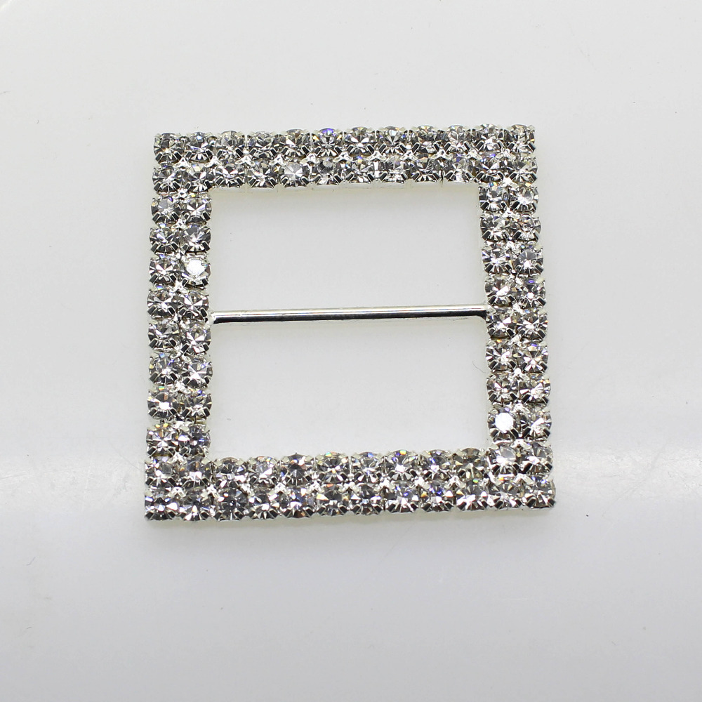 10pcs/set 50mm Square Rhinestone Buckle Diamante Wedding Supplies Card Accessory Ribbon Decorative Deduction Diy Chair Cover Soft And Antislippery Buckles & Hooks