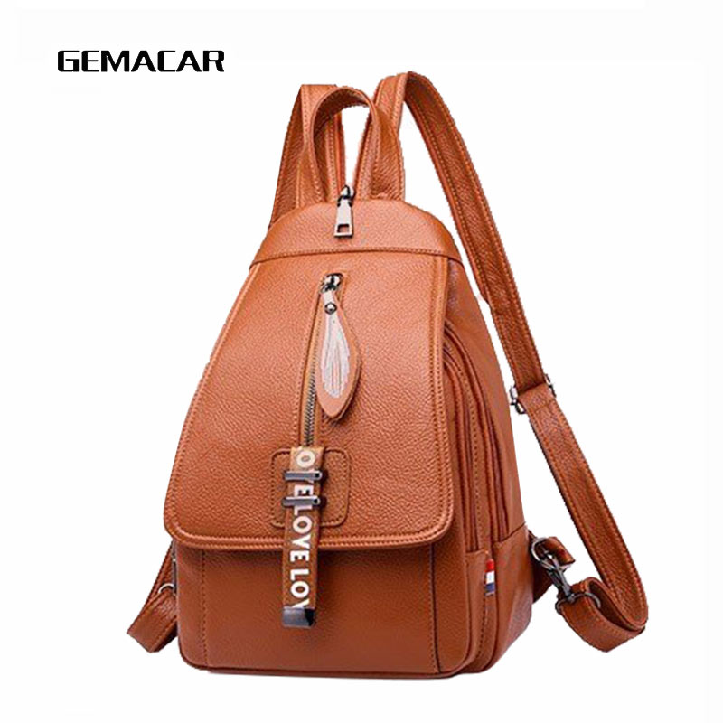 Popular Wild Backpacks Fashion Belts School Bags Girls Rucksack Small Women Pu Leather Backpack Female Backpack