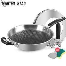 Stainless-Steel Wok Pan Gas-And-Induction-Cooker Non-Stick with Lid No-Lampblack Coating