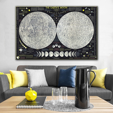 GoldLife  Painting Posters and Prints on Canvas Earth Moon Map Scandinavian Cuadros Wall Art Picture For Living Room