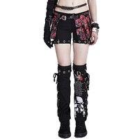 Punk Two Piece Set Detachable Women Dress Pants Gothic Rock Skull Printed Casual Pants Loose Cotton