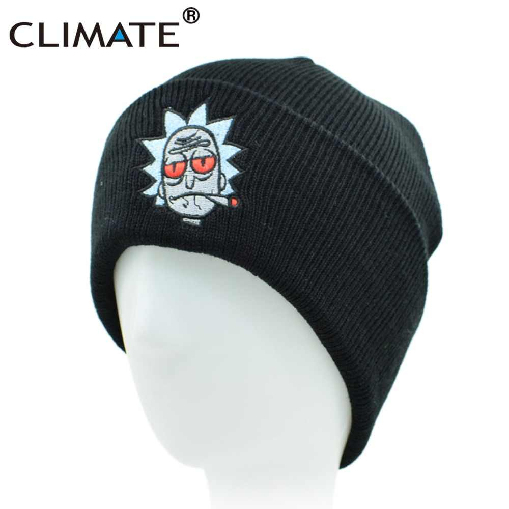95a3eb30ce6 CLIMATE Men Beanies Winter Warm Knitted Hat HipHop Black Hat For Adult Men  Women Winter Knitted