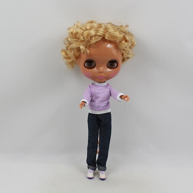 ICY Neo Blythe娃娃短金色深色皮膚常規身體