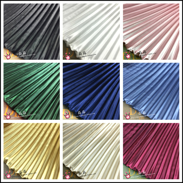 1psc Electro-optic clothing pleated fabric multicolor stripes accordion silk satin crushed through dress fabric