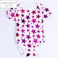 Romper Do Bebê Menina e Menino de algodão de Manga Curta Estrela de Impressão Roupas de Verão para Recém-nascidos Jumpsuits & Rompers