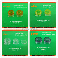 Fedex Free Shipping 135pcs lot 3g Square Cream jar 3g Clear plastic eye shadow jars mineral