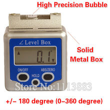 Digital Bevel Box Level Angle Finder Gauge Sensor 360 Degrees Protractor Spirit Inclinometer With High Precision Bubble