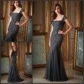 Elegante Cap Mangas Sereia Mãe da Noiva Vestidos de Escuro cinza Pesado Baguetes Tulle Vestidos de Festa de Casamento para a Mãe da noiva