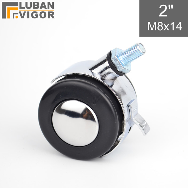 Furniture Caster, Wheel Diameter 50MM,M8x14 Threaded Rod,alloy, Computer  Desk Wheel
