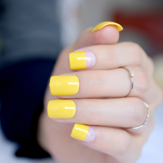 Pure Yellow Uv Gel Nail Tips Square Clear Pink French Fake Nails For