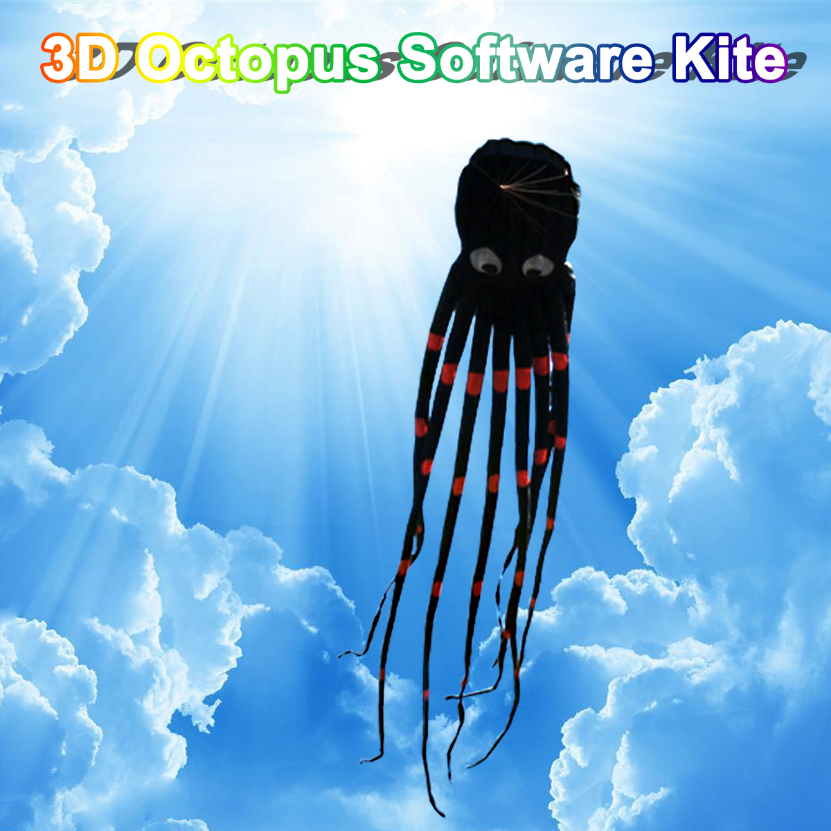 3D pieuvre Nylon cerf-volant Sport de plein air 8 M logiciel de vol longue queue cerfs-volants jouets énorme cerf-volant pour enfants enfants - 5