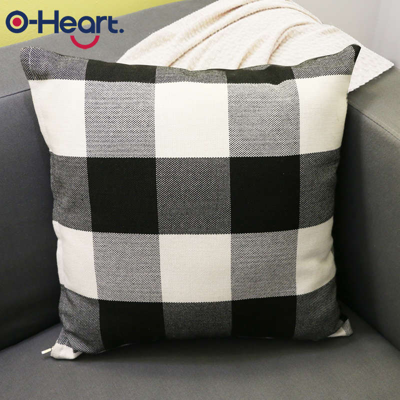 Plaid Pillowcase Black White Square Pillow Covers 45*45 Lattice Bed PillowCover Christmas Decoration For Home Striped Geometric