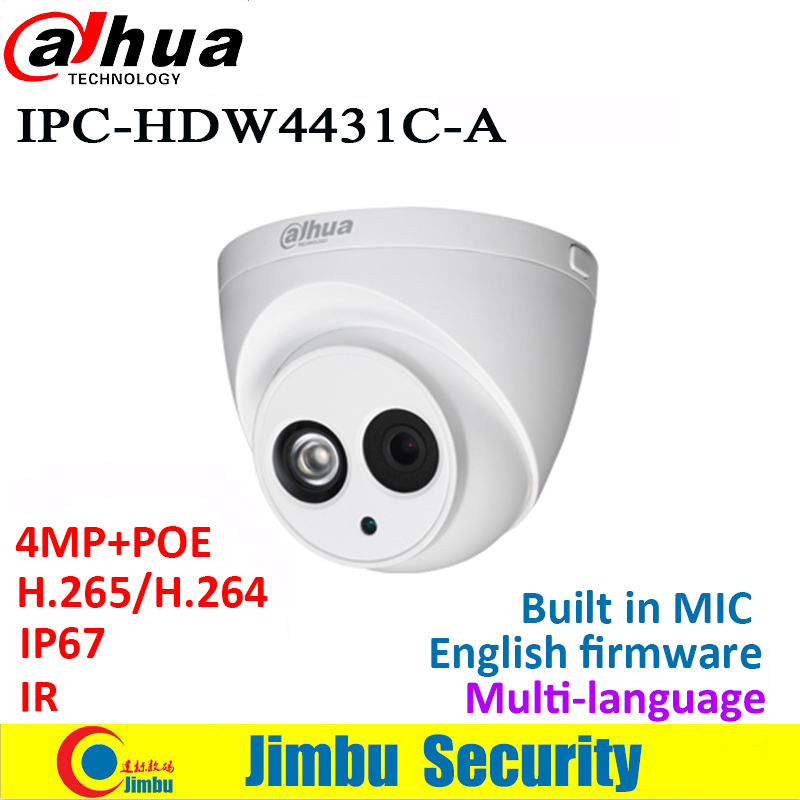 Dahua IP Camera Poe 4MP IPC-HDW4431C-A IR30M Mini Camera H.265 H.264 IVS WDR Built-in MIC cctv network multiple language ONVIF dahua 4mp ip camera ipc hdw4433c a replace ipc hdw4431c a poe ir30m h 265 built in mic cctv dome camera multiple language