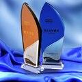 CTGF0060 новый парус в форме кристалла трофей стекло парусный спорт конкурс награды спортивные сувениры синие или коричневые игры чемпионы наг...