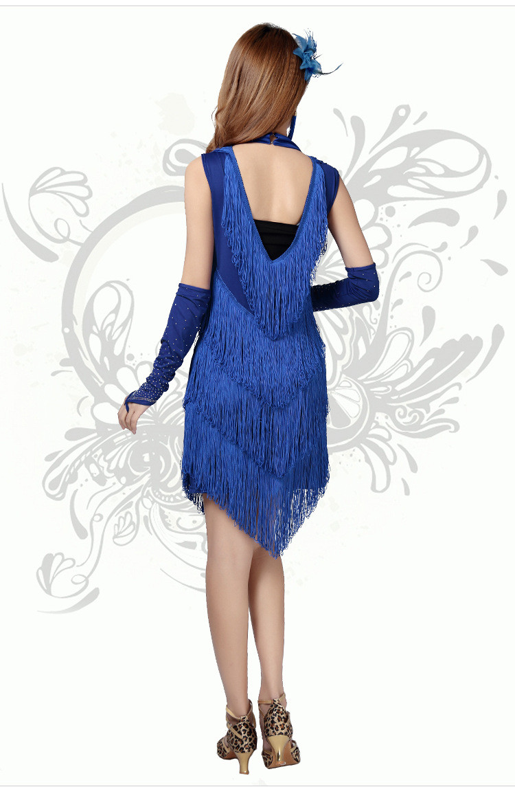Latin Dance Costume Sexy Backless Dress Turtleneck Tassel Skirt Bridesmaid Dresses Host Clothing More Colors Free Size