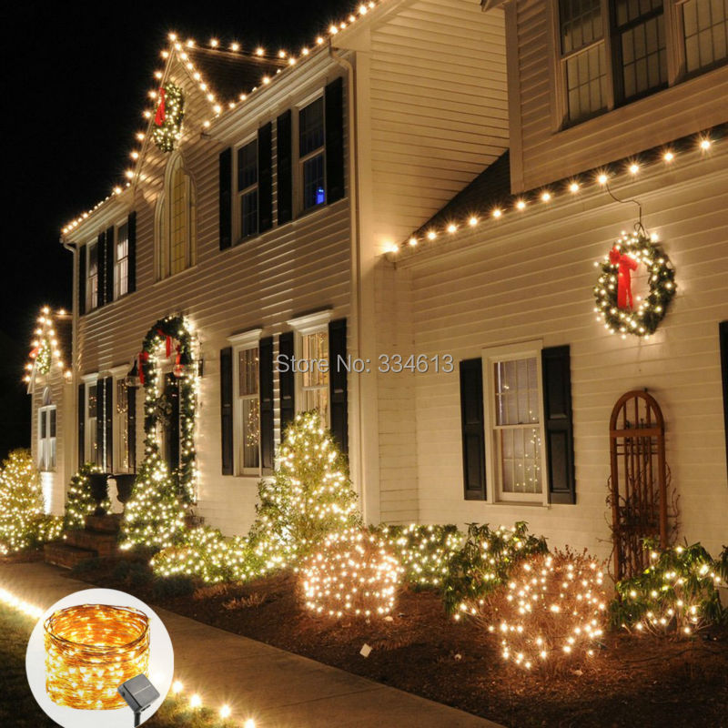 Solar Powered 50M 164FT 500LEDs Outdoor Copper Wire String Lights Solar Rope Lights Christmas Holiday Decororative Party Lights
