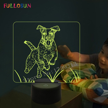 FULLOSUN 3D LED Illusion Night Light Jack Russell Terrier Dog Lamp Kids Baby Bedroom Decora Table Support Dropshippping