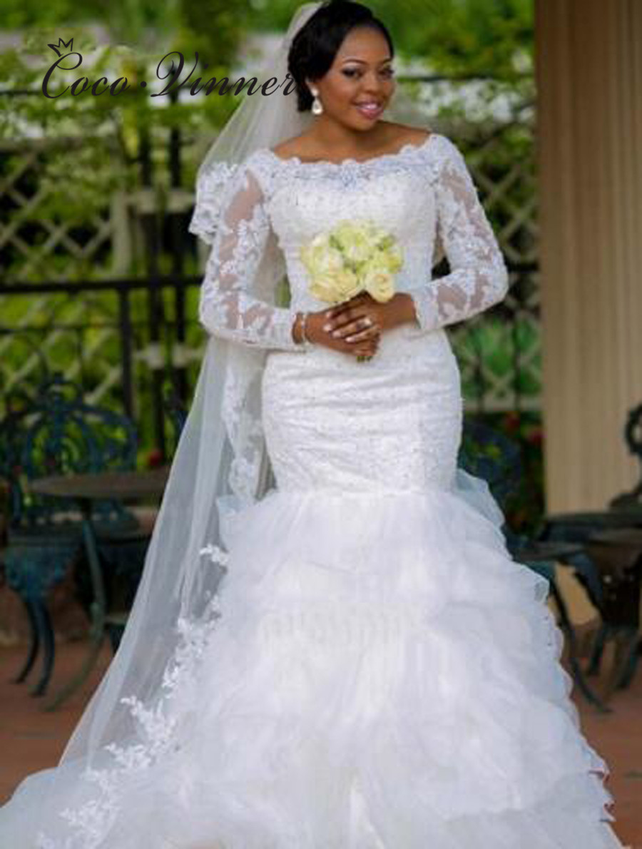 Long Sleeve Appliques African Mermaid Wedding Gown 2019 Tiered Boat Neck White Color Beading Mermaid Wedding Dress W0414
