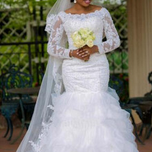Long sleeve Appliques African Mermaid Wedding Gown 2019 Tiered Boat Neck White Color Beading Mermaid Wedding
