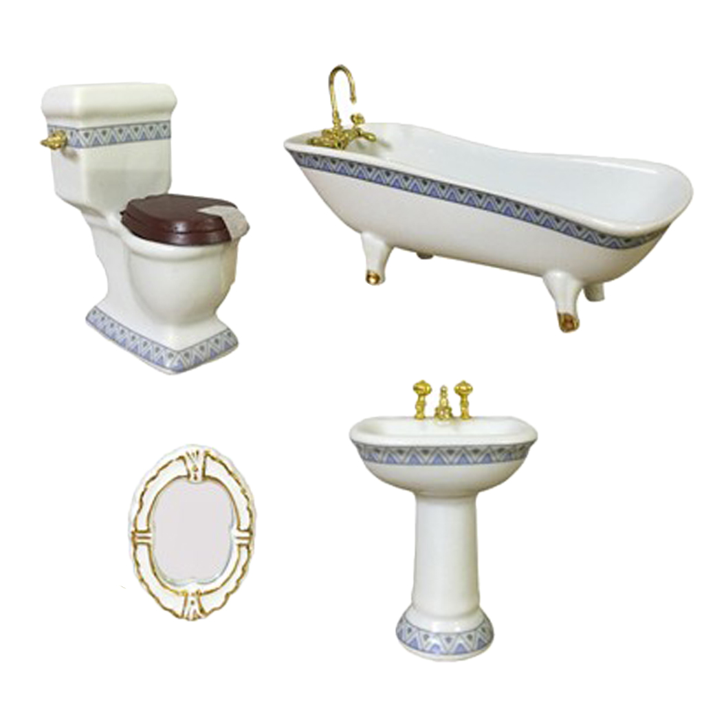 1:12 Miniature Bath Accessory Bathtub Toilet Sink Mirror, 4-Piece Dollhouse Bathroom Accessories, Dollhouse Decorations Kit
